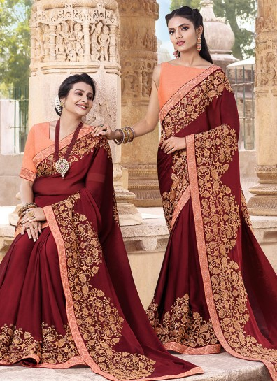 Maroon Georgette HeavyWork Border Saree