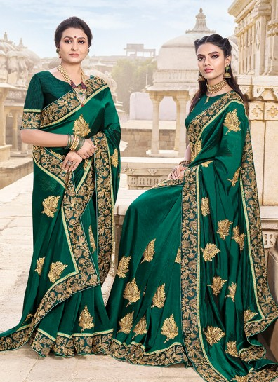 Green Satin Heavy Work Saree