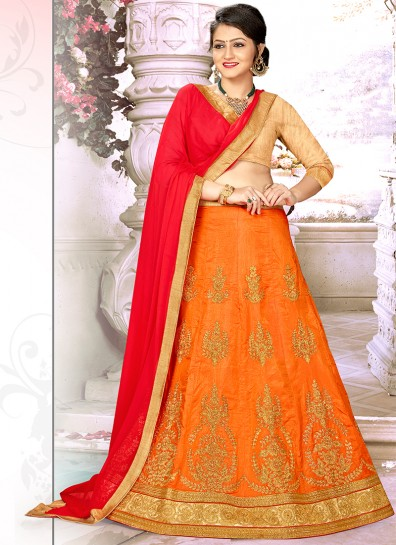 Orange Satin Umbarella Lehenga