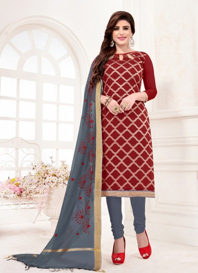 Maroon Jacquard Casual Suit