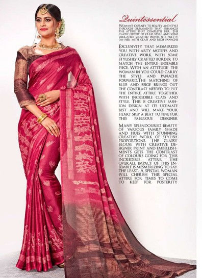 Red Linen Casual Saree