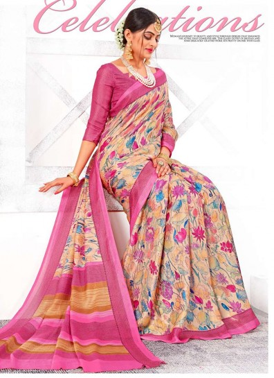 Multi Colour Linen Casual Saree