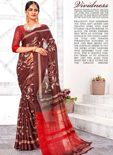 Brown Linen Casual Saree