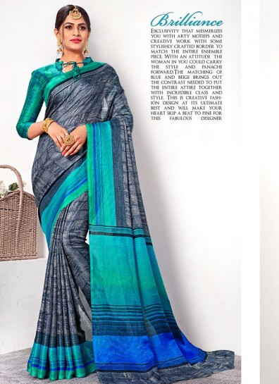 Grey Linen Casual Saree