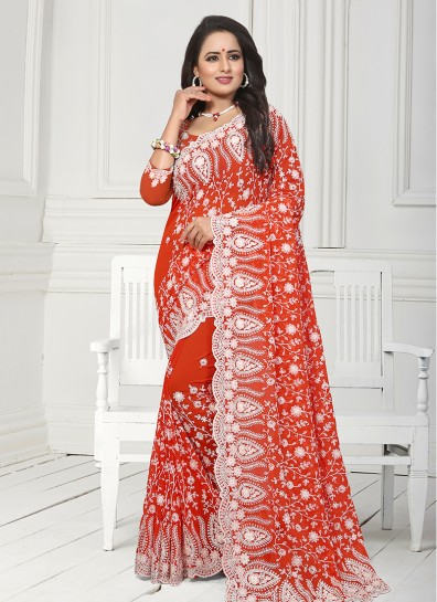 Orange Georgette Heavy Work Saree