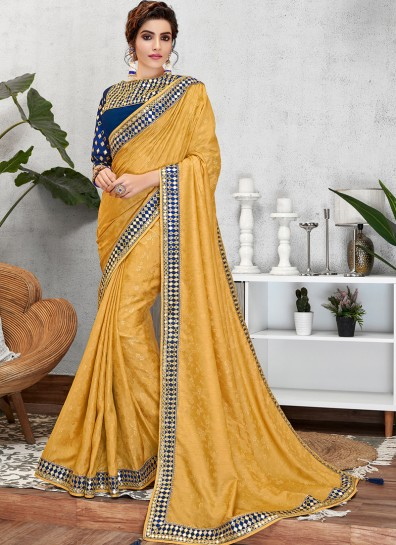 Yellow Jacquard Designer Saree