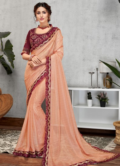 Peach Georgette Designer Saree