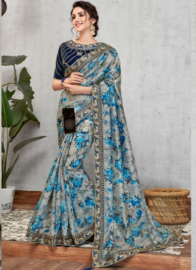 Grey Blue Art Silk Designer Saree