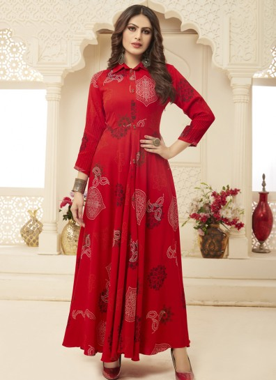Red Rayon Long Kurti