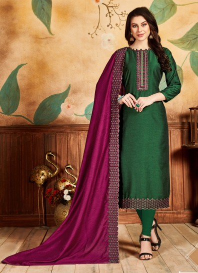 Green Silk Straight Cut Suit