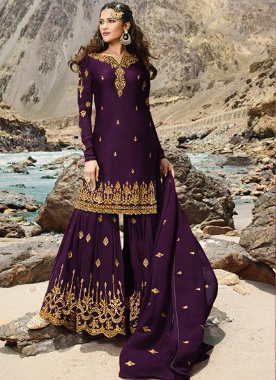 Purple Georgette Sharara Suit