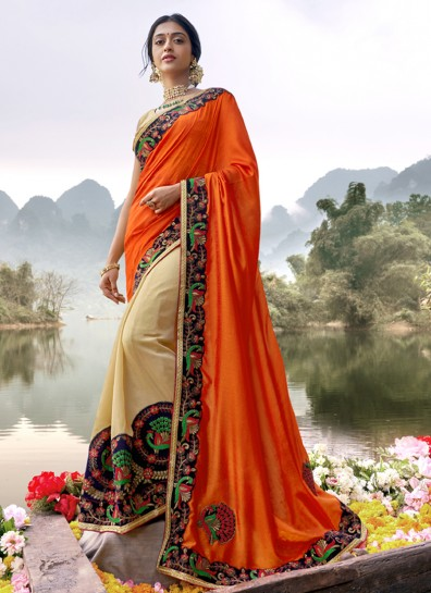 Orange Cream Silk Half And Half saree