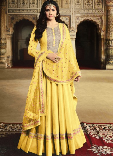 Yellow Georgette Abaya Suit