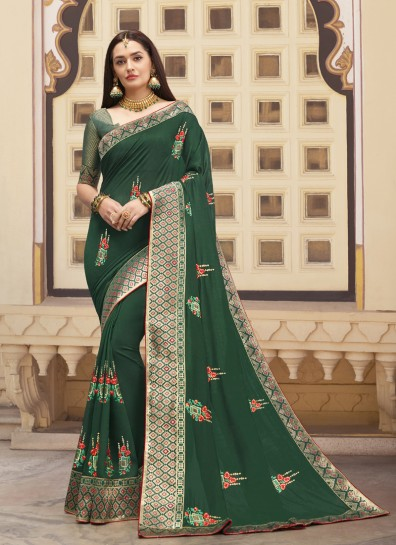 Green Art Silk Designer Saree