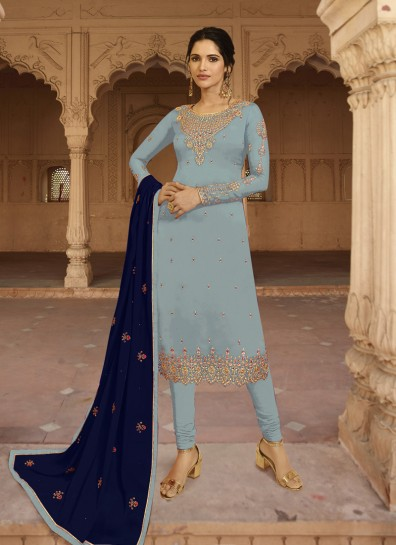 Grey Georgette Straight Cut Suit