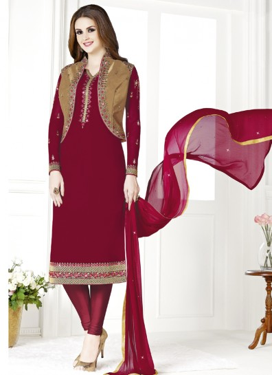 Maroon Gold Georgette Straight Cut Suit
