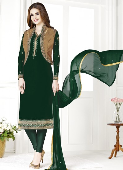 Green Gold Georgette Straight Cut Suit