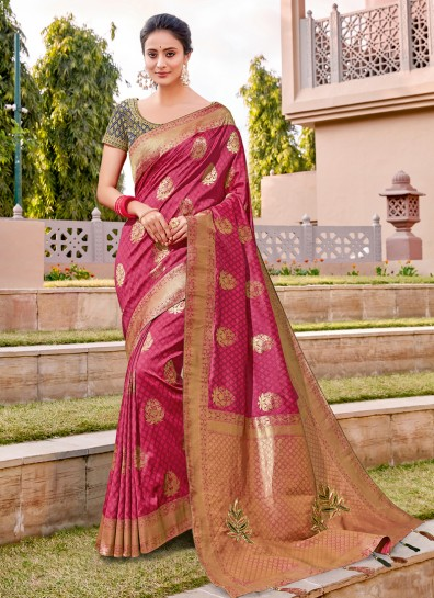 Pink Weaving Classic Wear Saree