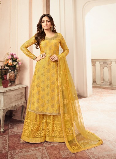 Yellow Silk Sharara Suit