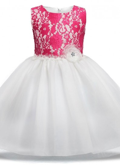 pink white net girls gown