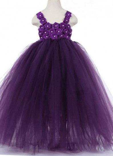 purple net girls gown