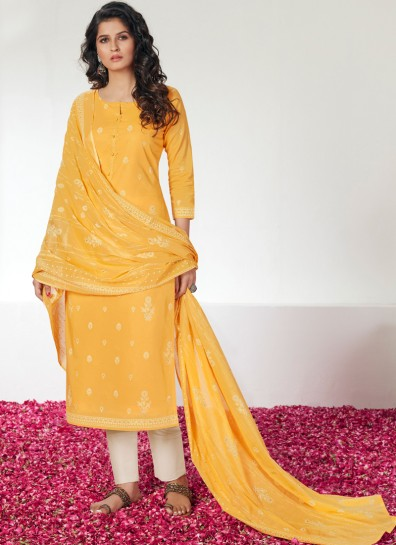 Yellow Cotton Straight Cut Suit