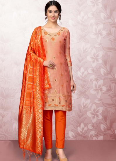 Peach Banarasi Straight Cut Suit