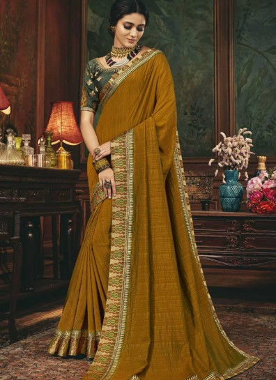 Brown Silk Designer Saree