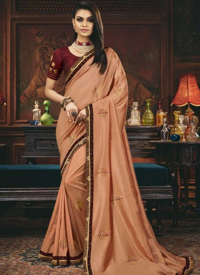 Peach Silk Designer Saree