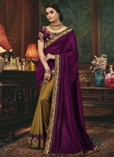 Purple , Sea Green Silk Designer Saree