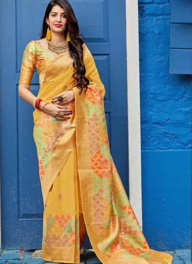 Yellow Silk Classic Wear Saree