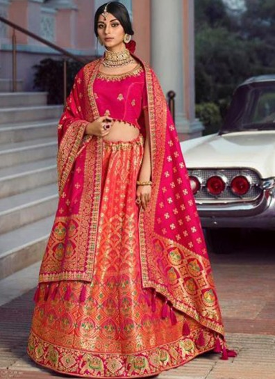 Multi Colour Silk Umbarella Lehenga
