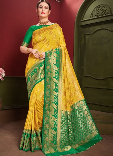 Yellow Art Silk Regional Saree