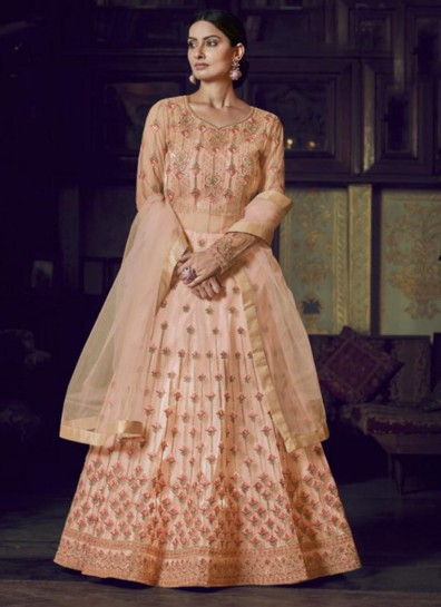 Peach Super Net Anarkali Suit