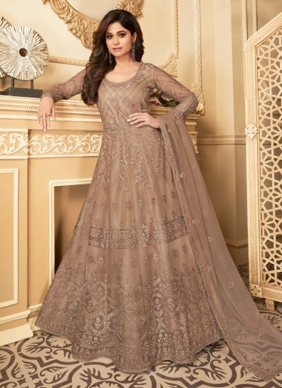 Beige Net Anarkali Suit