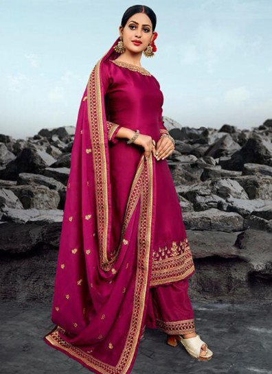 Magenta Georgette Palazzo Suit