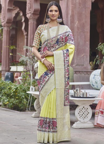 Yellow Fancy Fabric Printed Saree