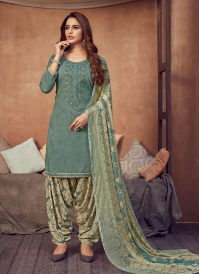 Sea Green Viscose Patiala Suit