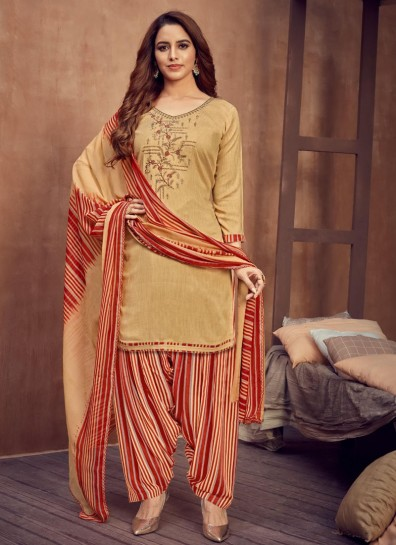 Cream Viscose Patiala Suit