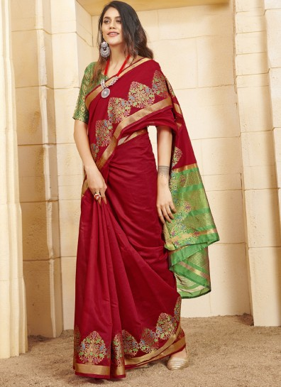 Red Cotton Classic Wear Saree