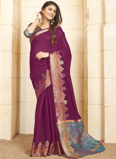 Violet Cotton Classic Wear Saree