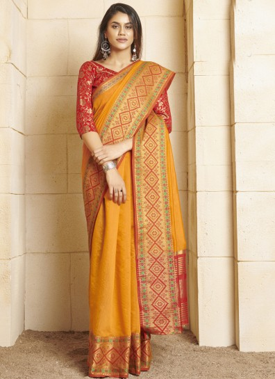 Yellow Cotton Classic Wear Saree