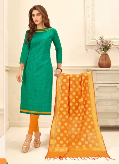 Green Glace Cotton Straight Cut Suit