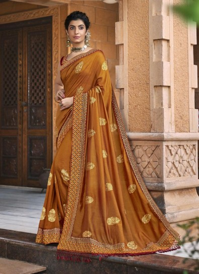 Mustard Chanderi Classic Wear Saree
