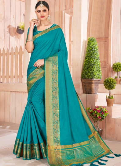 Teal Silk Designer Saree