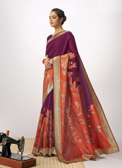 Purple Orange Cotton Silk Designer Saree