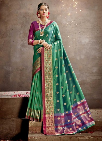 Green Art Silk Classic Wear Saree