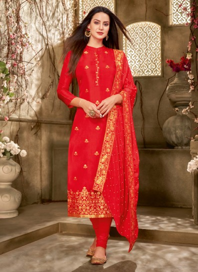 Red Silk Straight Cut Suit