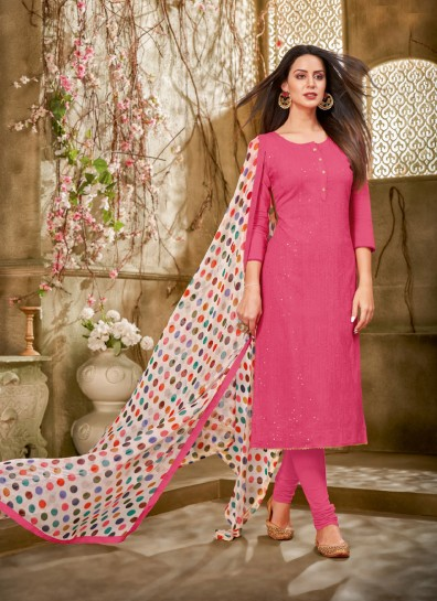 Pink Chanderi Straight Cut Suit