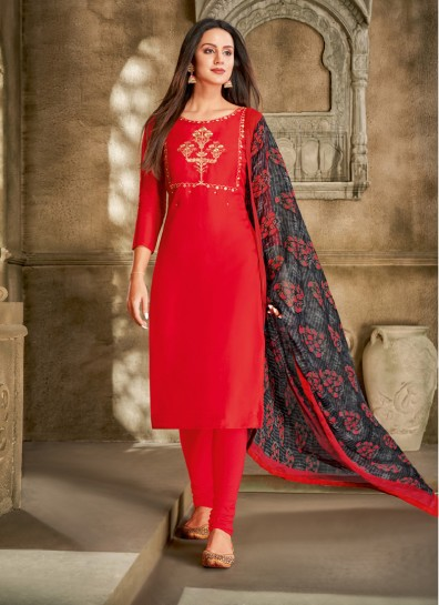 Red Chanderi Straight Cut Suit